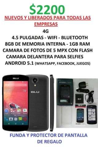 BLU X nuevos liberados 4G 8GB 1GBram 5MPX FLASH funda y protector de regalo