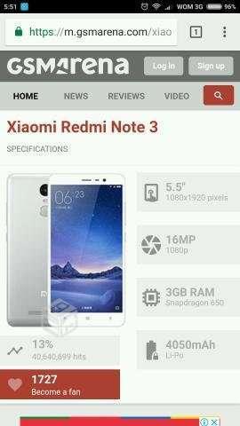 Xiaomi redmi note 3, Región Metropolitana